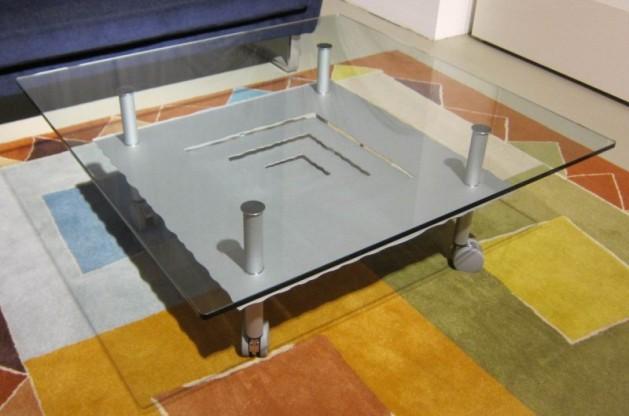 Couchtisch K300,Klarglas/Silber,Ronald Schmitt