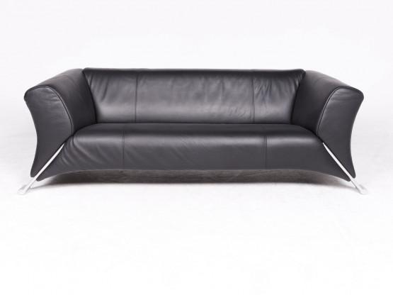 Rolf Benz 322 Designer Leder Sofa Schwarz Echtleder Dreisitzer Couch ...