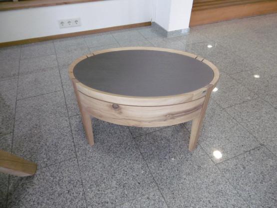 Voglauer Nachttisch oval, V-Vaganto, Wildeiche rustico, Glas quarz