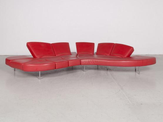 Edra Flap Designer Leder Sofa Rot Ecksofa Echtleder Couch Funktion
