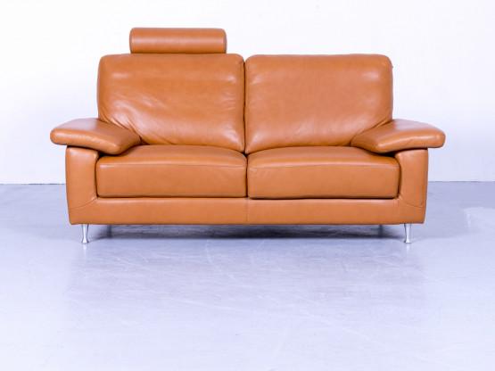 Willi Schillig Designer Leder Sofa Cognac Braun Zweisitzer Couch Echtleder Funtkion #5271