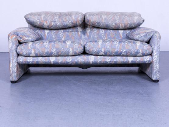 Cassina Maralung Designer Stoff Sofa Grau Blau Zweisitzer Couch Funktion #5570