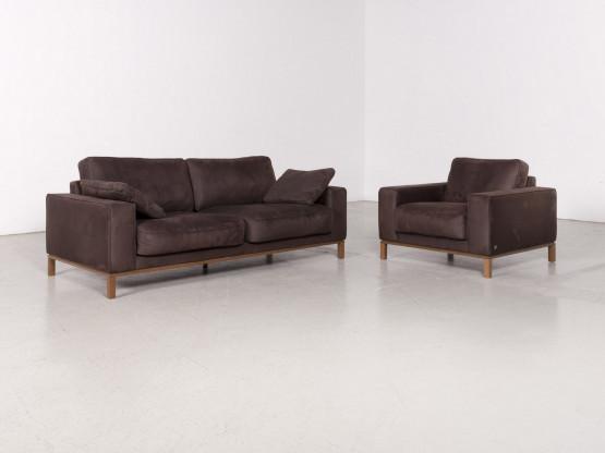 Musterring Designer Stoff Sofa Garnitur Braun Dreisitzer Sessel