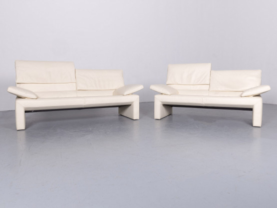 Jori Espalda Leder Sofa Garnitur Creme Beige Dreisitzer Couch Funktion Echtleder #6359