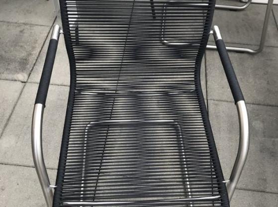 Gartenstühle (4 Stück) Swing fischer möbel schwarz/silber Edelstahl