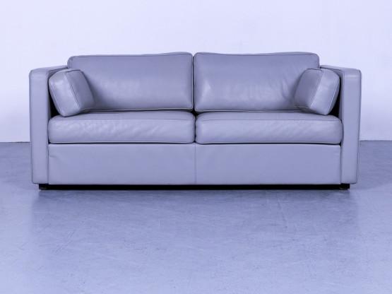 Walter Knoll Designer Leder Sofa Grau Zweisitzer Couch Echtleder #5741