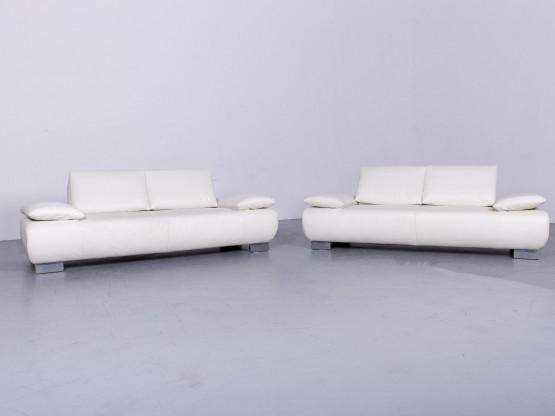 Koinor Volare Designer Leder Sofa Garnitur Weiß Echtleder Couch #6480