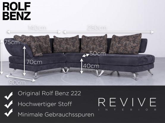 Rolf Benz 222 Designer Stoff Sofa Blau Ecksofa Couch 6646