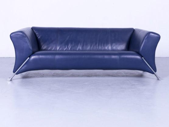 Rolf Benz 322 Designer Leder Sofa Blau Dreisitzer Couch Echtleder