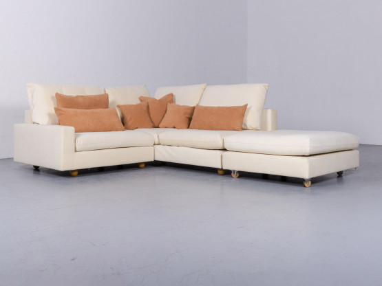 Pro Seda Designer Velours Ecksofa Beige Stoff Sofa Couch Hocker