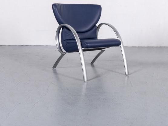Rolf Benz Designer Leder Sessel Blau Echtleder Stuhl #6147