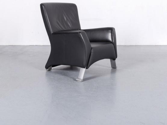Rolf Benz 322 Leder Sessel Schwarz Einsitzer Stuhl Echtleder #6138