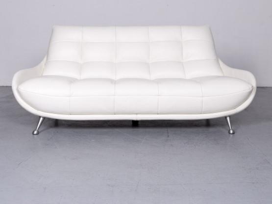 Chateau d`Ax Designer Leder Sofa Weiß Echtleder Dreisitzer Couch #6663 Neupreis