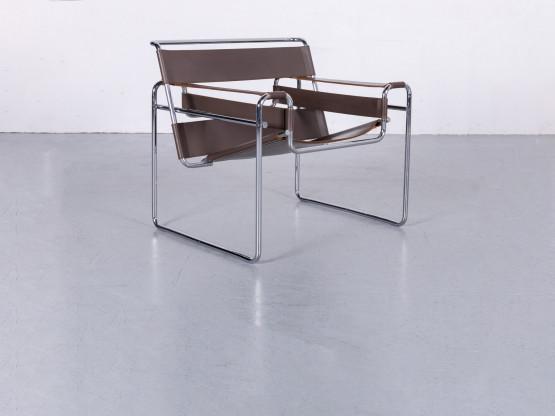 Knoll International Marcel Breuer Wassily Chair Designer Sessel Braun Leder Chrom Echtleder #6210