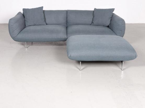 Cor Jalis Designer Stoff Sofa Hocker Garnitur Blau Dreisitzer Couch