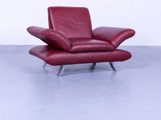 Koinor Rossini Designer Leder Sessel Rot Einsitzer Couch Funktion Echtleder #5283