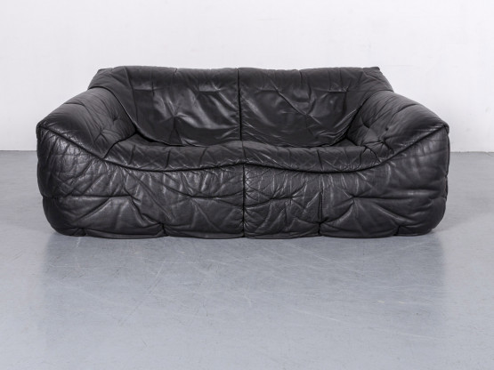 Roche Bobois Informel Leder Sofa Schwarz Zweisitzer Couch Echtleder #6211