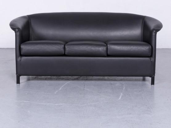 Wittmann Aura Designer Leder Sofa Schwarz Echtleder Zweisitzer Couch #6548