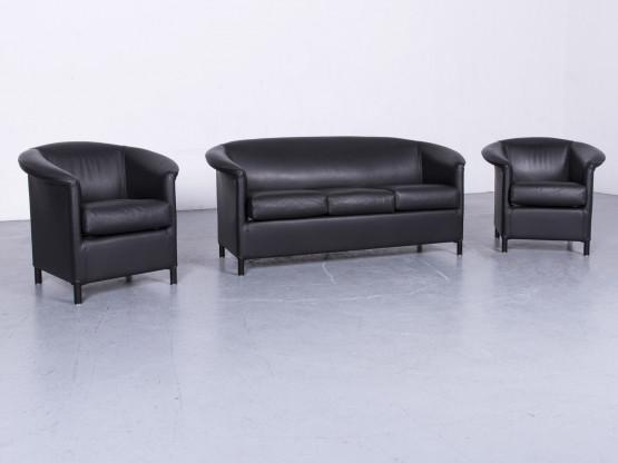 Wittmann Aura Designer Leder Sofa Sessel Garnitur Schwarz Echtleder