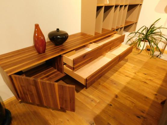 anrei wohnwand b cherregal puro in ast nuss mdf steingrau designerm bel hohentengen. Black Bedroom Furniture Sets. Home Design Ideas