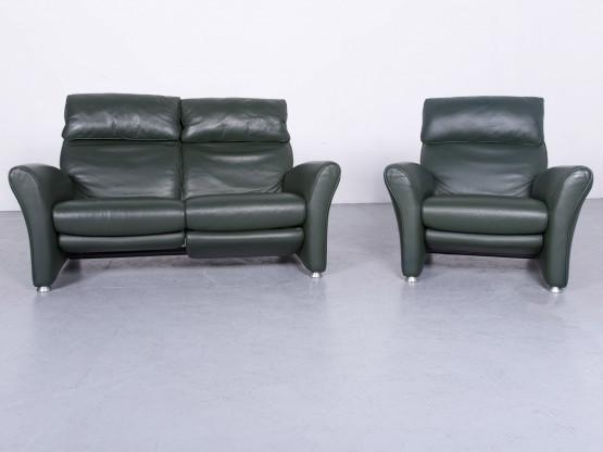 Musterring Designer Leder Sofa Sessel Garnitur Grün Echtleder Zweisitzer Couch Relax #