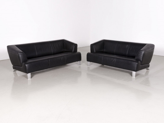 Rolf Benz 2300 Designer Leder Sofa Garnitur Schwarz Echtleder Couch