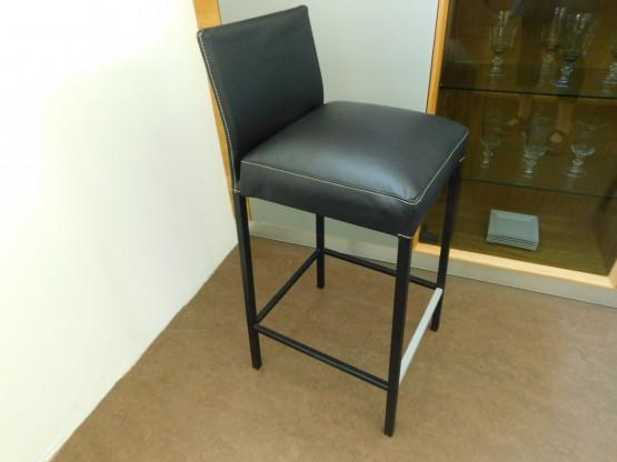 KFF Barhocker TEXAS mit Rückenlehne, Leder schwarz, Gestell schwarz