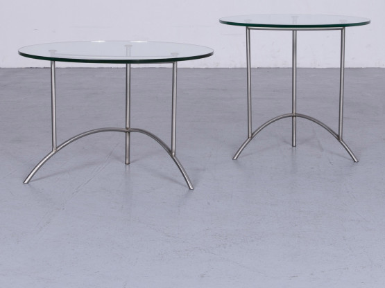 Ronald Schmitt Designer Glas Tisch Silber Couchtisch Garnitur #6495