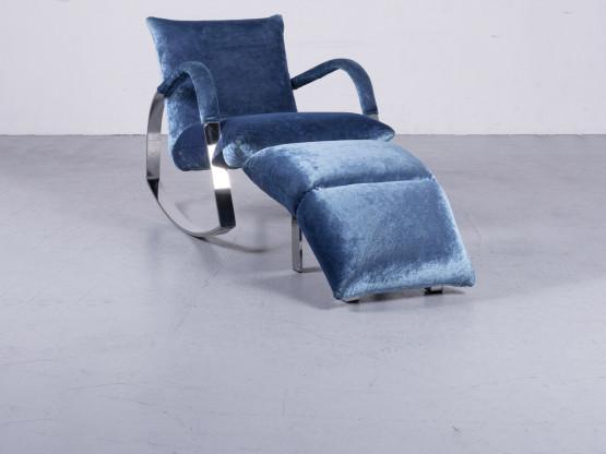 Bretz Highland B132 Designer Samt Blau Sessel Hocker Liege #6360