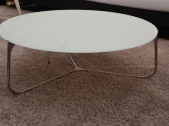 Gartentisch niedrig Mood Manutti weiß/silber Stahl Glas