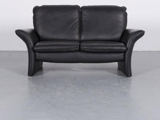 Musterring Leder Sofa Schwarz Zweisitzer Couch Echtleder #6005
