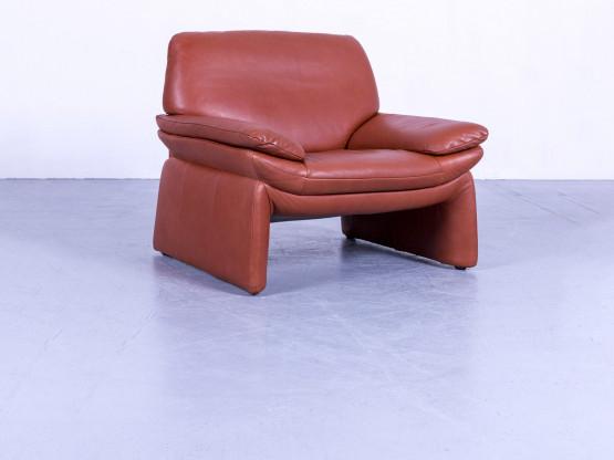 Laauser Designer Leder Sessel Orange Braun Zweisitzer Couch Echtleder #5353