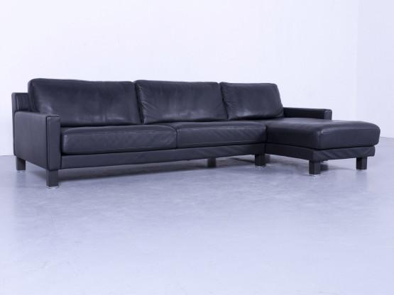 Rolf Benz Ego Designer Leder Ecksofa Schwarz Echtleder Couch Viersitzer #5463