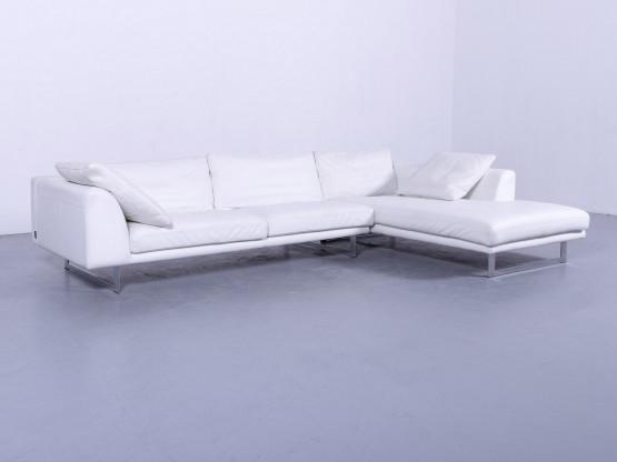 La Nuova Casa Leder Ecksofa Weiß Echtleder Viersitzer Modern