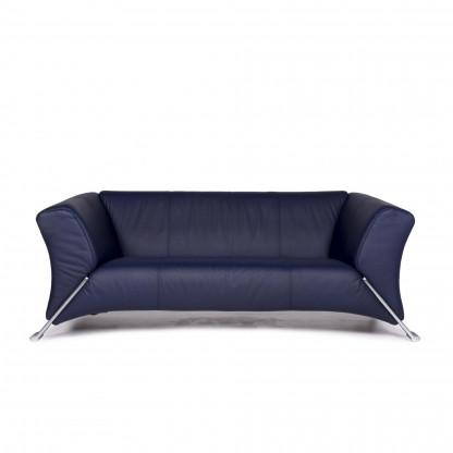 Rolf Benz 322 Leder Sofa Blau Zweisitzer Couch #10517
