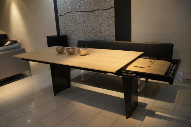 Girsberger Tisch BELA, mit Auszug, Eiche massiv weiß