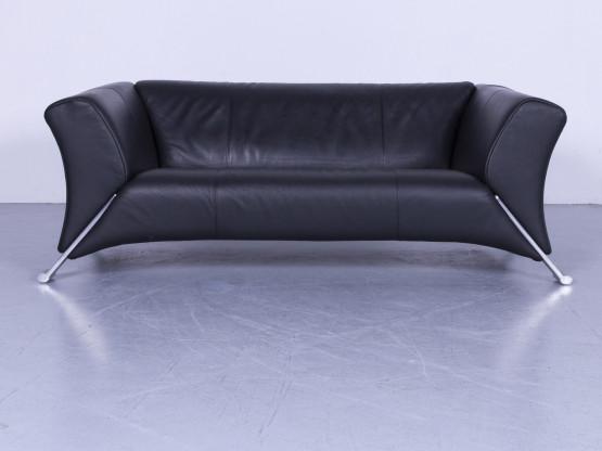 Rolf Benz 322 Designer Leder Sofa Schwarz Zweisitzer Couch Echtleder #5602