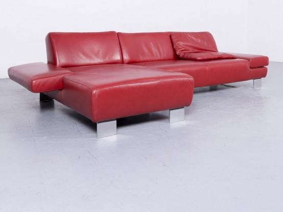 Willi Schillig Taboo Designer Leder Sofa Rot Echtleder Ecksofa Couch #6571