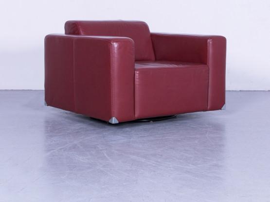 Ewald Schillig Leder Sessel Rot Einsitzer Stuhl Echtleder #5732