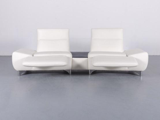 Musterring MR 2780 Leder Sofa Weiß Zweisitzer Couch Funktion Echtleder #5855