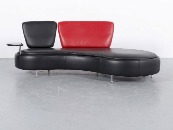 864970ac68cf79 Who s Perfect Leder Sofa Schwarz Rot Dreisitzer Couch Funktion Echtleder   5895