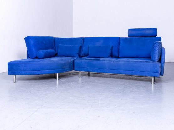 Brühl & Sippold Divanetta Stoff Ecksofa Blau Velours Dreisitzer Couch Funktion Remaciere #6309
