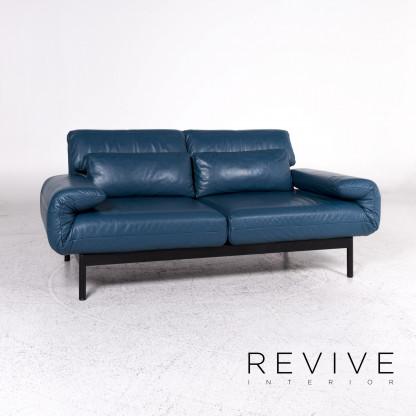 Rolf Benz Plura Designer Leder Sofa Blau Petrol Zweisitzer Relax