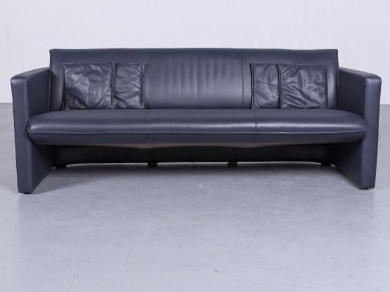 Leolux Designer Leder Sofa Blau Echtleder Zweisitzer Couch #6546