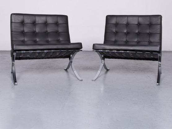 Knoll International Barcelona Chair Designer Leder Sessel Garnitur Schwarz Echtleder Stuhl #6918