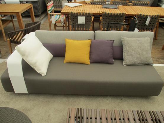 Garten Sofa/Liege Kumo Manutti weiß/braun Aluminium, Stoff, Holz