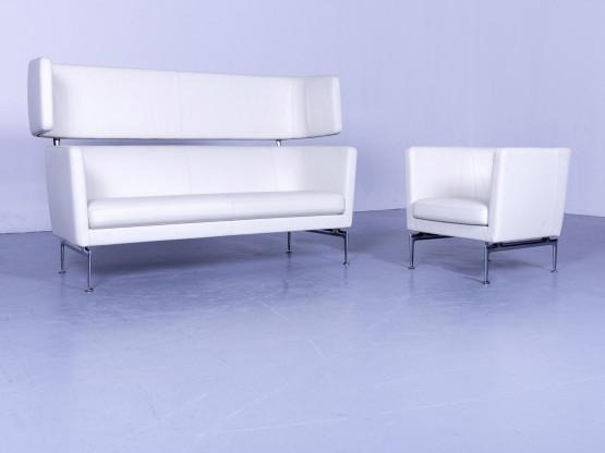Vitra Suita Designer Leder Sofa Garnitur Weiß Zweisitzer Couch Echtleder Bank #5658