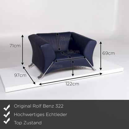Rolf Benz 322 Leder Sessel Blau #10516
