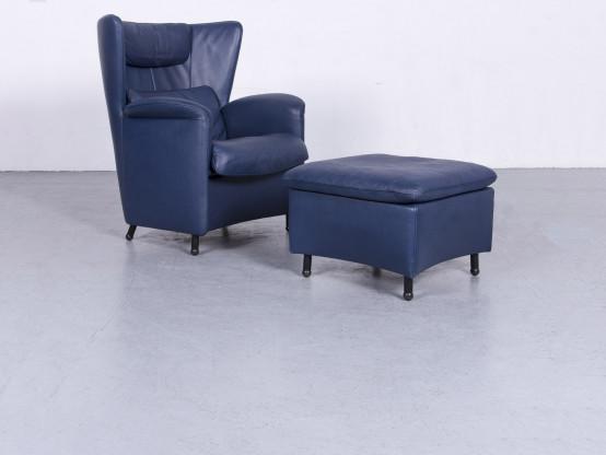 de Sede DS 23 Designer Leder Sessel Hocker Garnitur Blau Echtleder Stuhl #6689