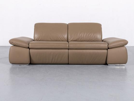 Koinor Designer Leder Sofa Braun Beige Dreisitzer Funktion Relax #5843